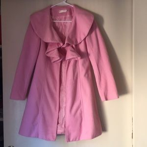 Pink Ruffle Collar One Button MidThigh Length Coat
